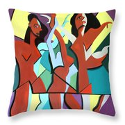 Ladys In Red Throw Pillow