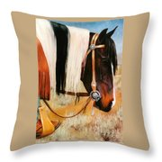 Ladys Jewels Horse Painting Portrait Throw Pillow