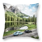 Laferrari And Gt3rs In The Dolomites Throw Pillow