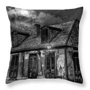 Lafittes Blacksmith Shop Bw Throw Pillow