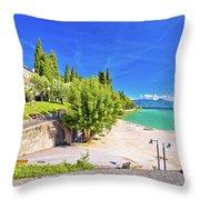 Lago Di Garda Beach In Sirmione View Throw Pillow