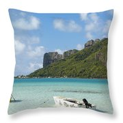 Lagoon At Maupiti Throw Pillow
