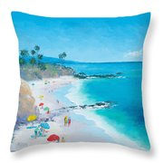 Laguna Beach Umbrellas Throw Pillow