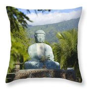 Lahaina Buddha At Jodo  Throw Pillow