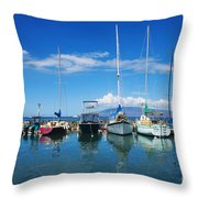Lahaina In Blue Throw Pillow by Ron Dahlquist - Printscapes