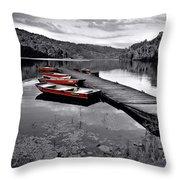 Lake And Boats Throw Pillow