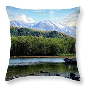 Lake And Volcano Throw Pillow