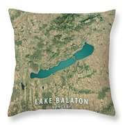 Lake Balaton 3d Render Satellite View Topographic Map Throw Pillow