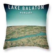 Lake Balaton 3d Render Satellite View Topographic Map Vertical Throw Pillow