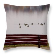 Lake Bench Throw Pillow