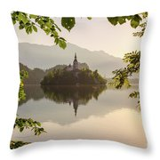 Lake Bled In The Morning Throw Pillow