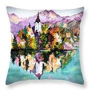 Lake Bled - Slovenia Throw Pillow