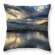Lake Bled Sunset Throw Pillow