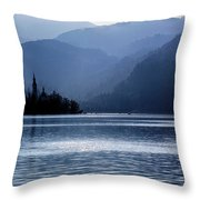 Lake Bled Twilight Throw Pillow