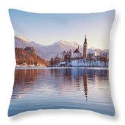 Lake Bled Winter Sunrise Throw Pillow