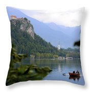 Lake Bled With Row Boat Throw Pillow