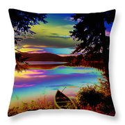 Lake Canoe Throw Pillow