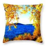 Lake Coeur D'alene Through Golden Leaves Throw Pillow