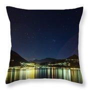 Lake Como Night Reflections Throw Pillow