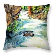 Lake Como Waterfall Throw Pillow