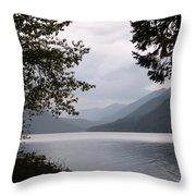 Lake Crescent Through The Trees Throw Pillow