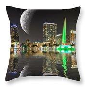 Lake Eola Moon Throw Pillow
