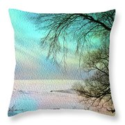 Lake Erie In Winter Throw Pillow