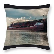 Lake Freighter - Honorable James L Oberstar Throw Pillow