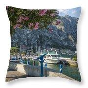Lake Garda Harbour Of Limone Sul Garda Throw Pillow