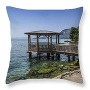 Lake Garda Riverside At Garda Throw Pillow