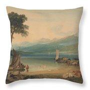 Lake Geneva And Mount Blanc Throw Pillow