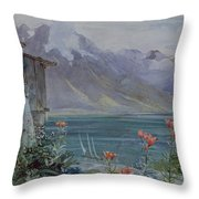 Lake Geneva Throw Pillow by John William Inchbold
