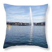 Lake Geneva Switzerland With Water Fountain And Water Taxi On A  Throw Pillow