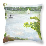 Lake Harriet With Sailboat And Angler Throw Pillow