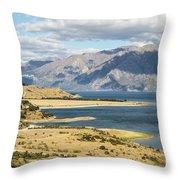 Lake Hawea In New Zealand Throw Pillow