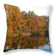 Lake Helene And Fall Foliage Throw Pillow