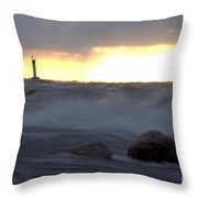 Lake Huron Arctic  Blast Throw Pillow