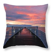 Lake Huron Pier Throw Pillow