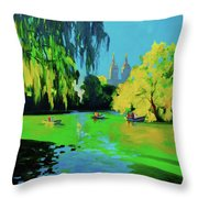 Lake In Central Park Ny Throw Pillow