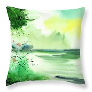 Lake In Clouds Throw Pillow