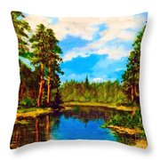 Lake In The Forest  Throw Pillow
