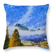Lake In The Middle Of Swiss Beauty Throw Pillow