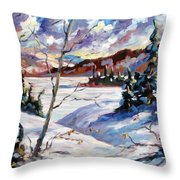 Lake In Winter Throw Pillow