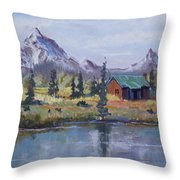 Lake Jenny Cabin Grand Tetons Throw Pillow