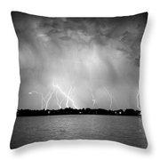 Lake Lightning Bw Throw Pillow