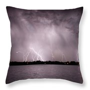 Lake Lightning Throw Pillow