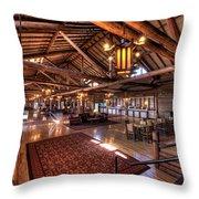 Lake Lodge Interior Yellowstone Throw Pillow