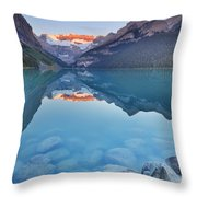 Lake Louise, Banff National Park, Canada At Sunrise Throw Pillow