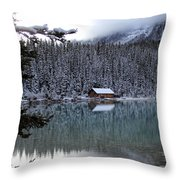 Lake Louise Boathouse Throw Pillow