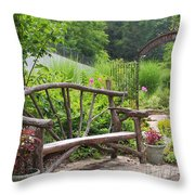 Lake Lure Flowering Bridge Bench Throw Pillow
